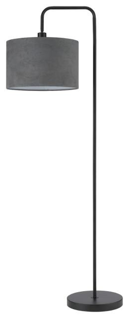 """Barden 58"""" Floor Lamp, Black/Shade: Dark Gray Velvet"""