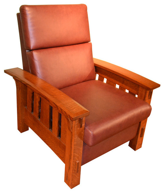 Crafters And Weavers Amish McCoy Leather And Oak Reclining Chair Craftsman  Recliner Chairs