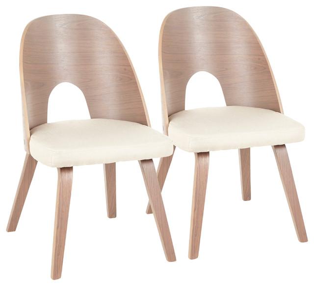 LumiSource Ellen Dining Chair, Light Walnut Wood/Tan, Set of 2