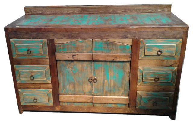 Rustic Turquoise Arched Doors Bathroom Vanity Buffet