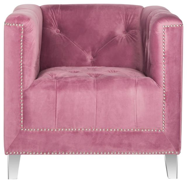 Safavieh Hollywood Glam Acrylic Plum Club Chair, Plum And Clear