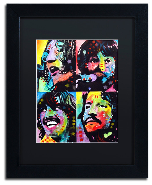 "Dean Russo 'Beatles' Framed Art, Black Frame, 11""x14"", Black Matte"