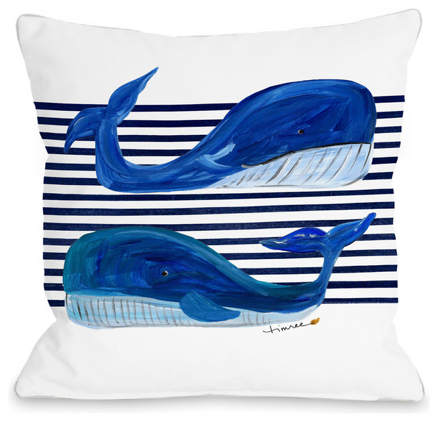 """Whale Buddies, White, 18""""x18"""" Pillow by Timree"""
