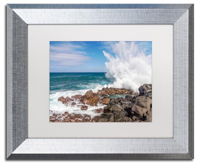 Pierre Leclerc &x27;queen&x27;s Bath Wave&x27; Matted Framed Art, Silver Frame, White, 14x11.