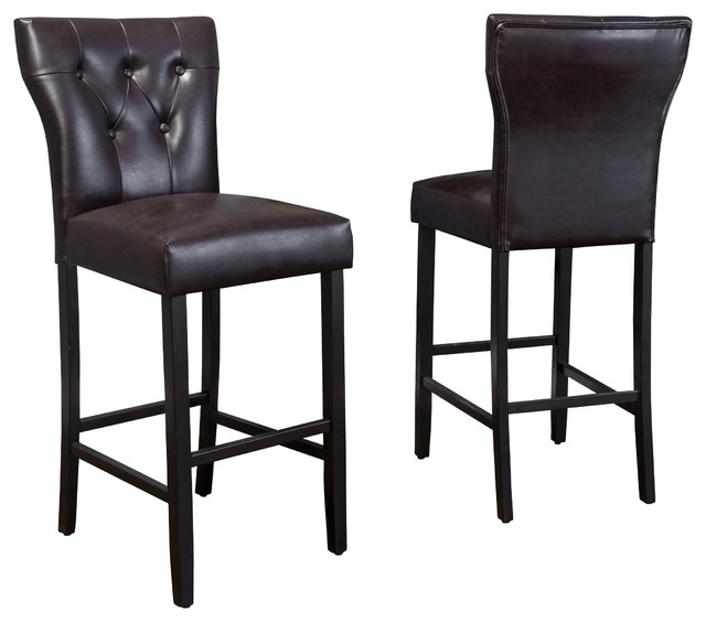 Pierre Brown Leather Barstools Set Of 2 Contemporary