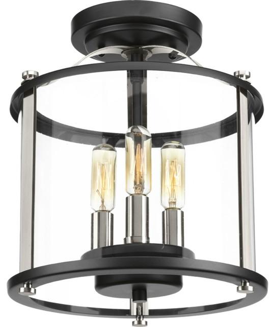 Squire Collection 3-Light Semi-Flush Convertible, Black