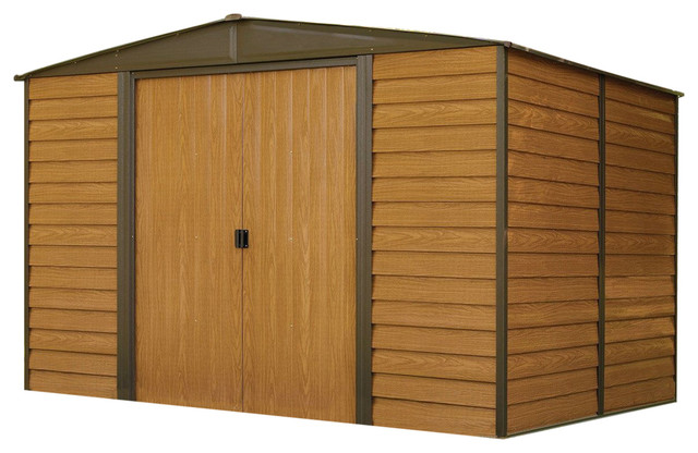 Outdoor 10x12&x27; Steel Storage Shed With Woodgrain Panels.