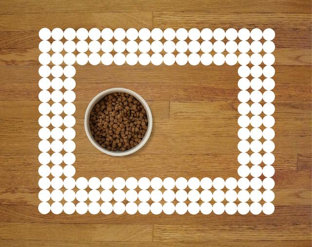 Polka Dot Pet Food Mat, White