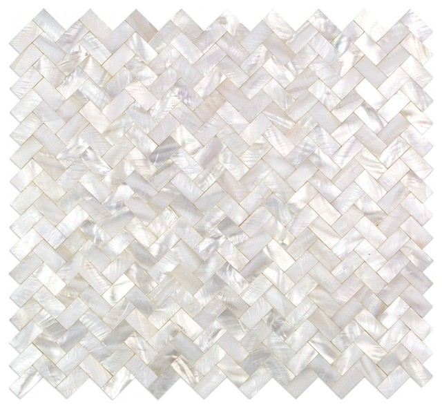 Lokahi Random Sized Glass Pearl Shell Mosaic Tile Polished White Pearl Beach Style Mosaic Tile By Ivy Hill Tile