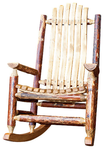 Hagan Wooden Log Rocking Chair, Dark Finish