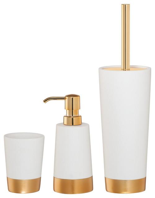 Contemporary Bathroom Accessories Sets 3-piece sealskin bathroom accessories set, glossy white and gold