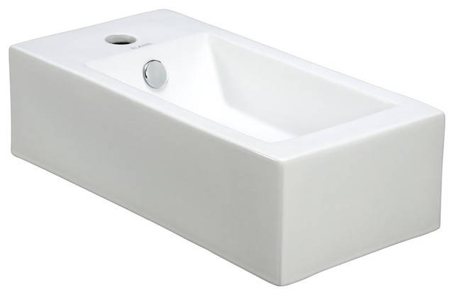 """Bekhan Porcelain Wall-Mounted Sink, Right Facing, 20""""."""