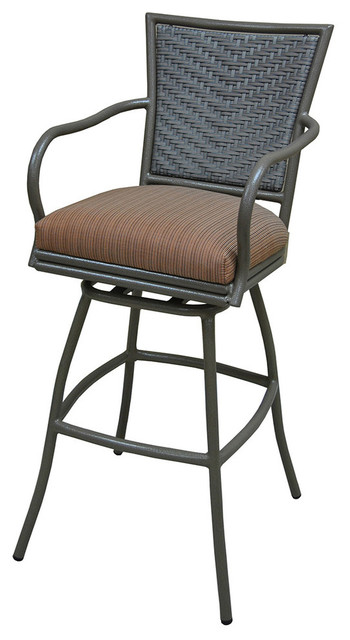 Erin Brown Frame 30inch Bar Height Terracota Outdoor Swivel Bar