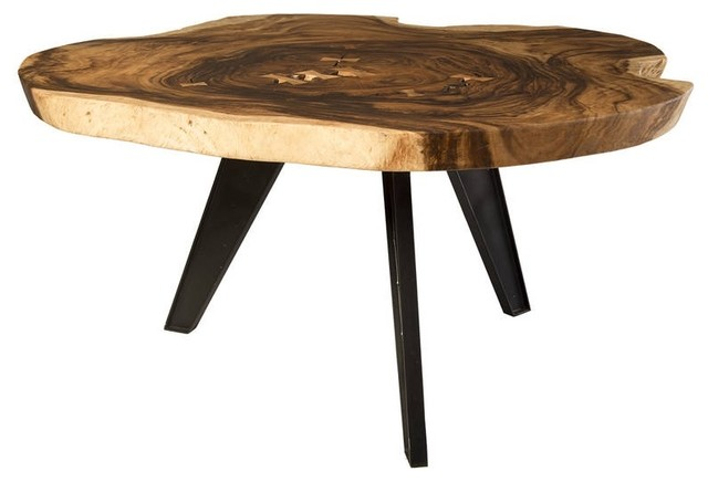 65 Round Dining Table Solid Acacia Wood Crosscut Metal Legs Live Edge