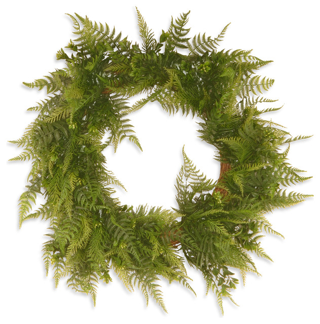 "22"" Garden Accents Boston Fern Wreath."