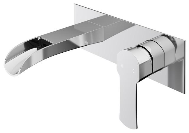 VIGO Cornelius Wall Mount Bathroom Faucet, Chrome on tile bathroom modern, wall mount bathroom faucet modern, waterfall countertops modern,