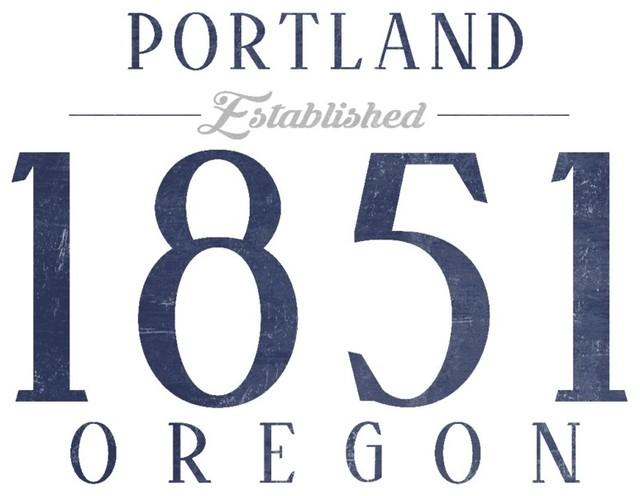 Lantern Press Quot Portland Oregon Established Date Blue