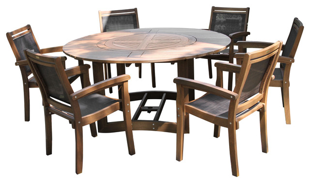 7 Piece Eucalyptus Dining Set With, Round Outdoor Dining Table With Lazy Susan