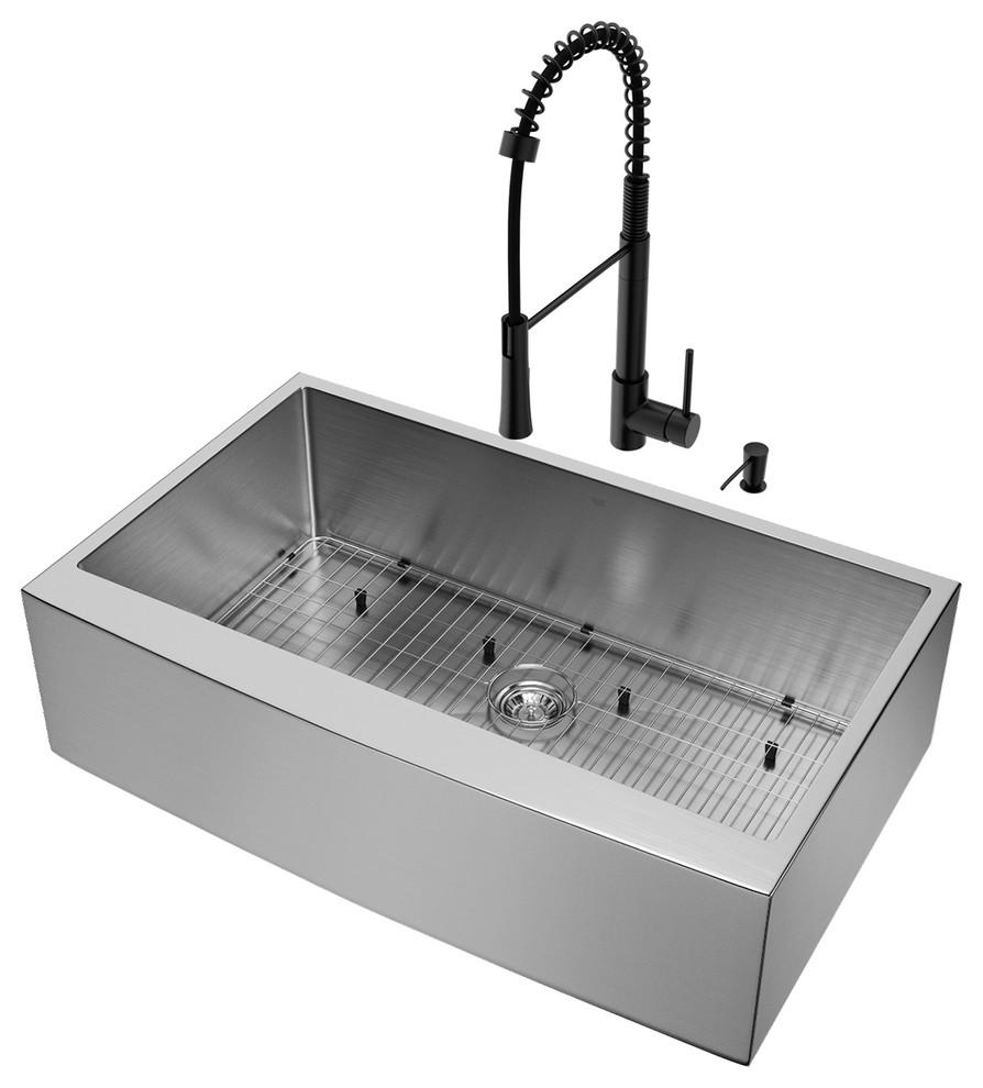 """Vigo Laurelton Pull Down Spray Kitchen Faucet In Matte Black vigo all-in-one 36"""" bedford stainless steel farmhouse kitchen sink set"""