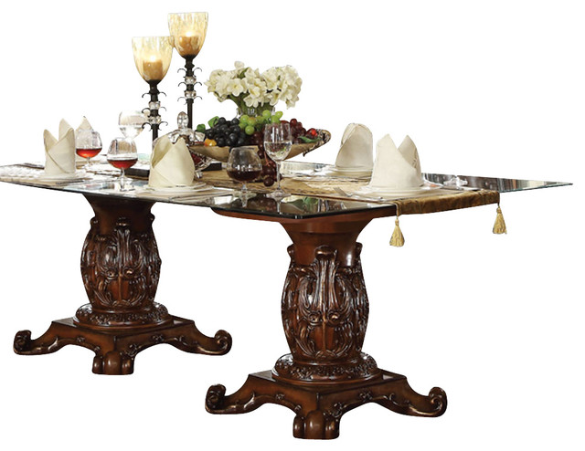 Superb Acme Vendome Double Pedestal Dining Table With Glass Table Top, Cherry  Traditional Dining