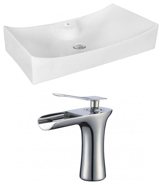 "25.25""x15.25"" Above Counter, White Vessel Set, Faucet Ai-16748."