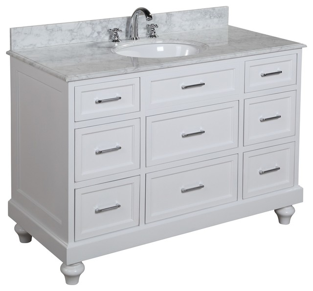 Amelia Bath Vanity With Carrara Marble Top - Transitional ...