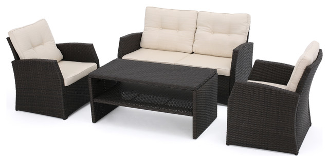 Del Norte Outdoor Dark Brown Wicker Chat, Beige Water Resistant 4-Piece Set