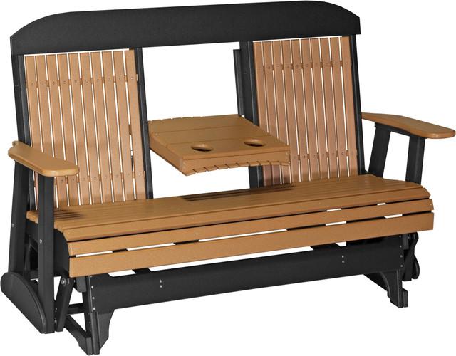 Wondrous 5 Poly Highback Glider Bench Cedar Black Squirreltailoven Fun Painted Chair Ideas Images Squirreltailovenorg