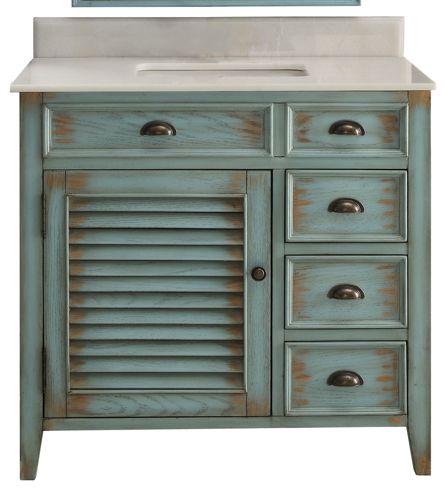 36 Distress Blue Abbeville Bathroom Sink Vanity Farmhouse Bathroom Vanities And Sink Consoles By Chans Furniture Showroom Houzz