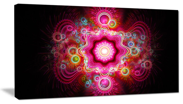 Bright Pink Fractal Flower Abstract Wall Art Canvas 40x20