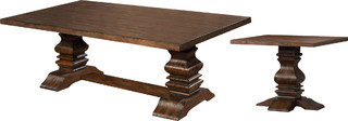 Traditional Walnut Coffee and End Table, 2-Piece Set