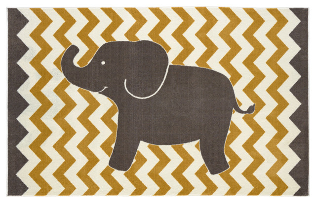 Lucky Elephant Rug, Yellow, 5&x27;x8&x27;.