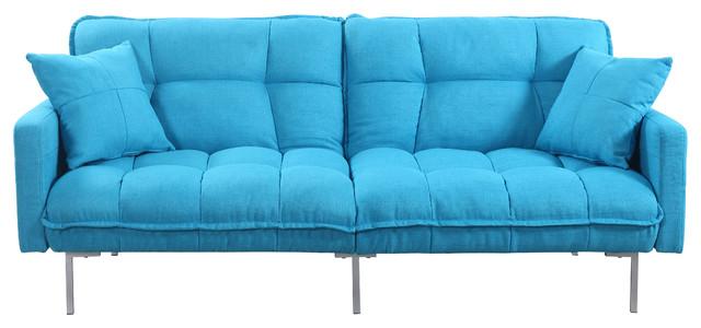 Modern Plush Tufted Linen Fabric Splitback Sleeper Futon Blue Contemporary Futons