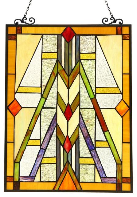 MENAHEM, Tiffany-glass Window Panel, 17.5x25