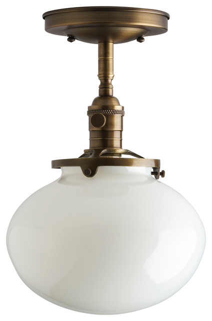 8 Rounded Schoolhouse Style Flush Mount Semi Light Fixture