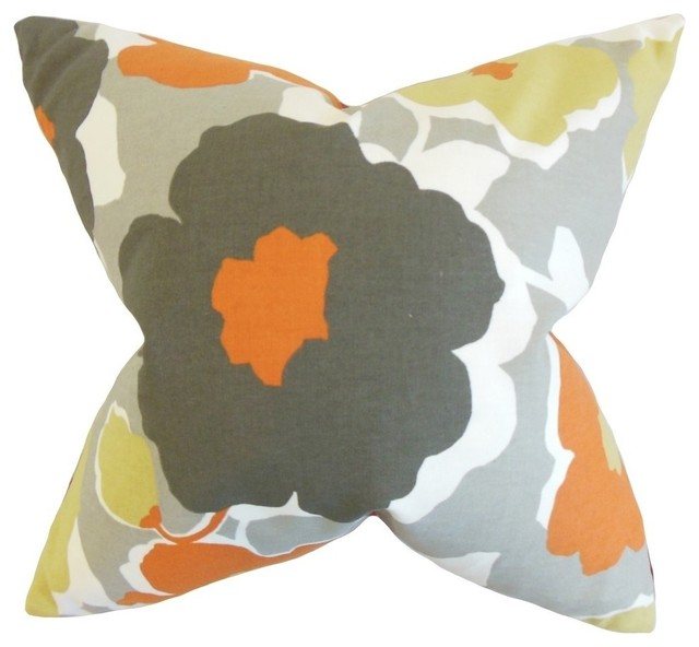 "Saar Floral Pillow, Orange 18""x18""."
