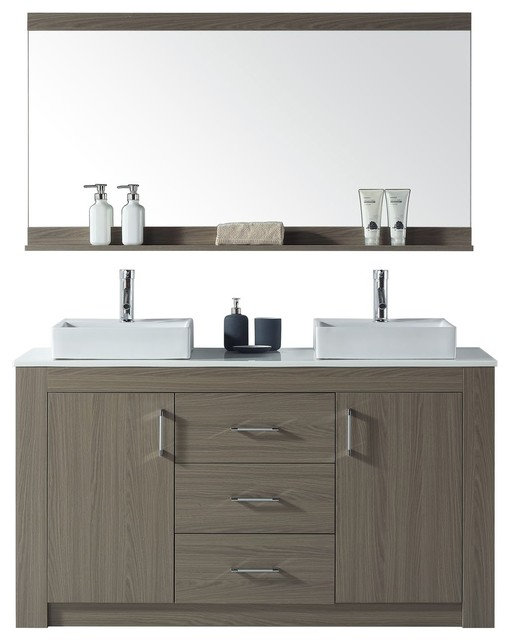 Virtu Usa Tavian 60 Double Bathroom Vanity, Countertop, Gray Oak, White Stone.