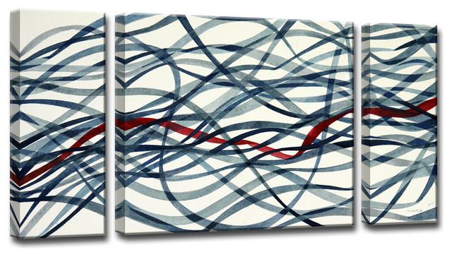 Ready2HangArt 3-piece 'Scarlett Ribbon' by Normanyatt Jr. Art
