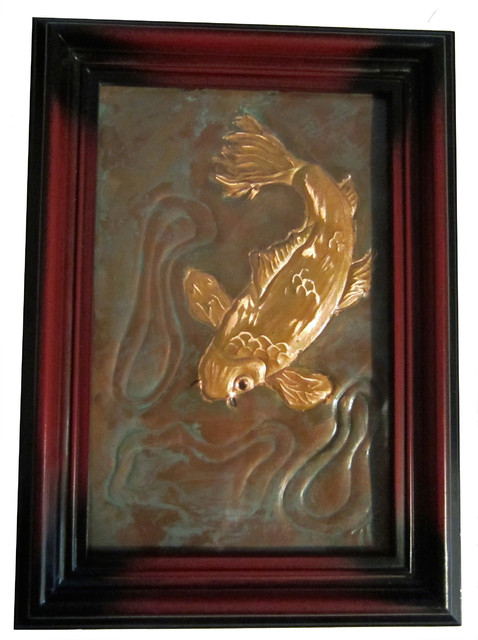 Shop houzz original art copper embossed koi original for Koi metal wall art