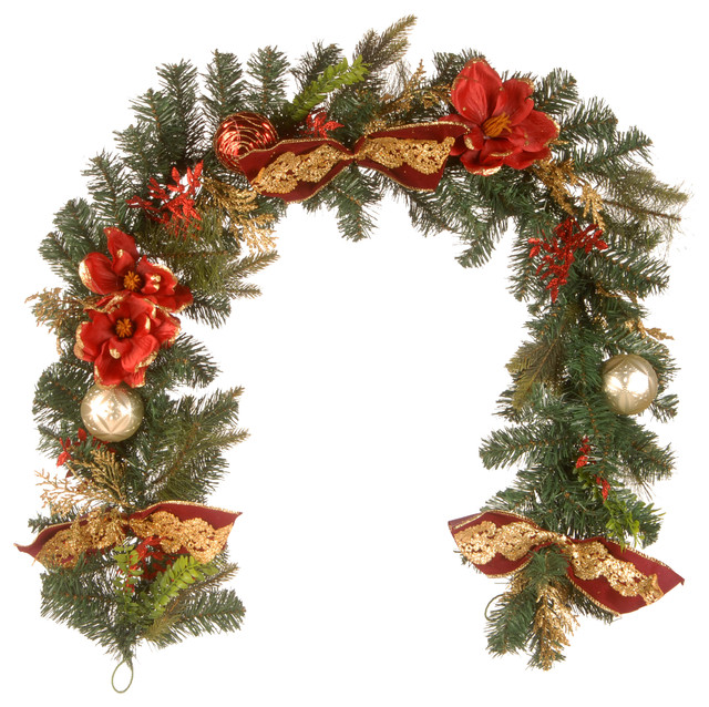 6&x27;x12 Decorative Garland With Ornaments & Bows.