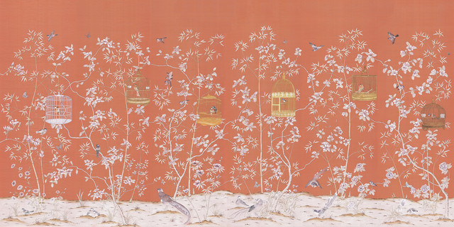 Chinoiserie wall mural palace garden asian wallpaper for Asian mural wallpaper