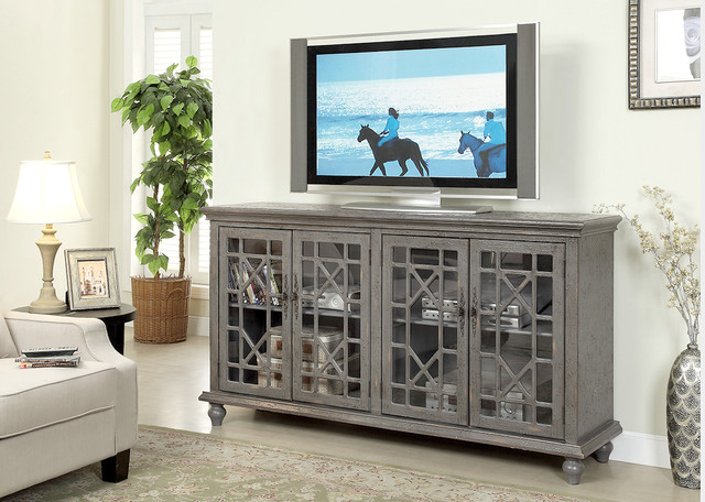 Marvelous Gray Painted Fretwork Media Console Traditional Home Theater