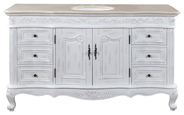 60 Inch Large Distressed White Bathroom Vanity Single Sink Marble Traditional Transitional Bathroom Vanities And Sink Consoles By Luxury Bath Collection Houzz