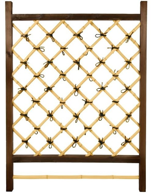 Japanese garden style wood and bamboo trellis asian for Japanese wooden garden structures