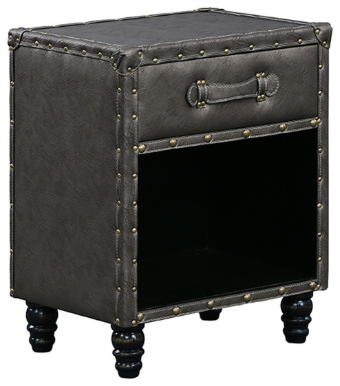 Faux Leather Upholstered Nightstand With Drawer, Gray.