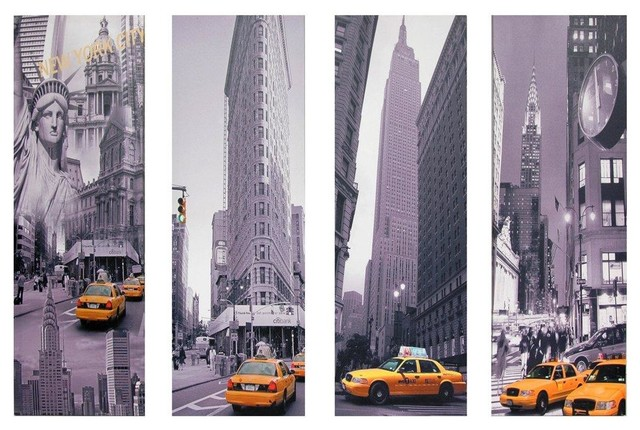 New York City Canvas Wall Art new york taxi canvas wall art - set of 4 - modern - artwork -