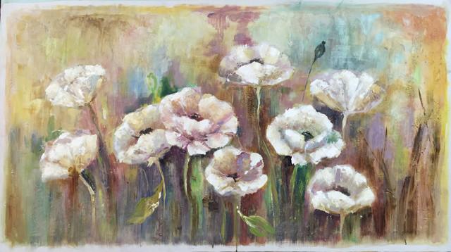 """""""garden Of Flowers"""" Hand Painted Oil Canvas Artwork; Modern Art; Fine Art."""