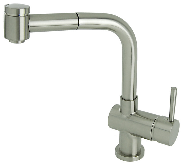 Modern Industrial Pull Out Kitchen Faucet Brushed Nickel