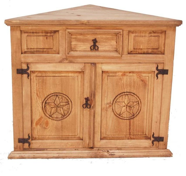 Corner TV Stand With Star Detail - Southwestern - Entertainment ...