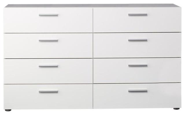 Atlin Designs 8 Drawer Double Dresser in White
